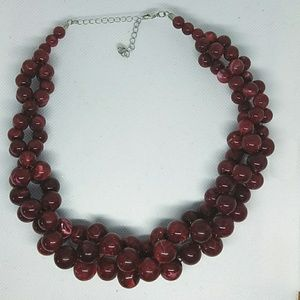 Cranberry Marble Twisted Beaded Necklace
